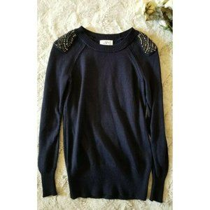 Ann Taylor Loft Navy Blue Decorated Sequin Sweater